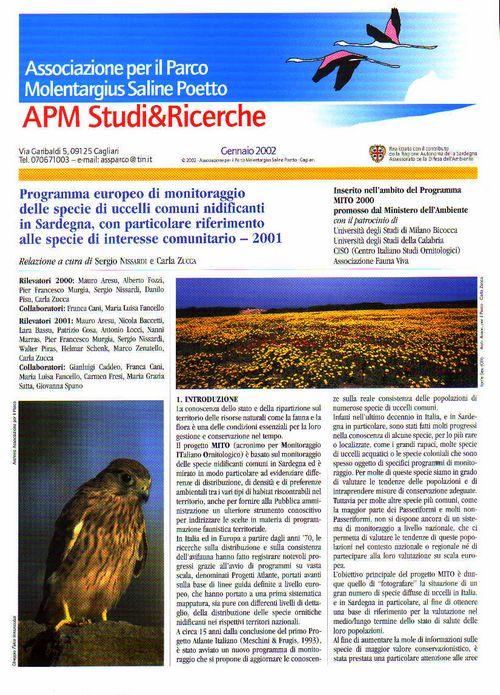 Programma monitoraggio specie di uccelli comuni in Sardegna - 2001